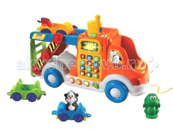 Vtech Веселый автовоз 80-049726Веселый автовоз 80-049726Развивающая игрушка Vtech Веселый автовоз - это настоящий игровой центр для детей от 2-х лет. В набор входят 6 интерактивных предметов и рация.  В комплекте: Большая машина каталка-автовоз; 3 фигурки говорящих животных; 3 машинки, которые можно соединять между собой (джип, легковая машинка и тягач); Рация (имеет 2 режима громкости и световые эффекты).  Развивающая игрушка имеет 3 режима обучения: животные, формы и цифры. Кроме этого, ребенок познакомится с животными и с видами машин, которые входят в комплект.  Автовоз можно использовать как каталку либо везти за собой на веревке. Фигурки животных умеют говорить: если ребенок посадит одну из фигурок животных на место водителя, то включается режим знакомства с этим животным, оно представляется малышу и поет забавную песенку. Рация в автовозе имеет световые эффекты и 2 режима громкости звука.<br>