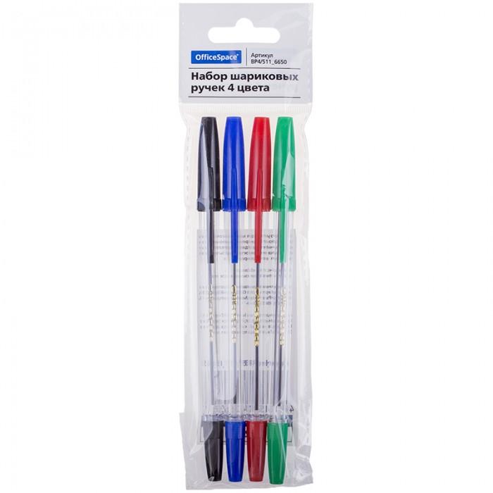 все цены на  Канцелярия Спейс Набор шариковых ручек OfficeSpace 4 штуки 4 цвета 1 мм европодвес  в интернете