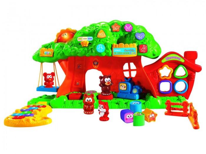 Vtech Веселый зоосад 80-069726Веселый зоосад 80-069726Интерактивная игрушка  Vtech ВЕСЕЛЫЙ ЗООСАД включает восемь обучающих программ и два режима обучения которой помогут Вашему малышу весело провести время и одновременно получить элементарные знания.   Учиться с помощью этой игрушки легко и весело – нажимай кнопки и запоминай цифры, слова и мелодии, названия животных, цвета и геометрические фигуры, выполняй задания.  Игрушка выполнена в виде своеобразного городка, в котором живут веселые зверята. Городок разделен на три секции: сортер, платформа, на которой изображены цифры, а также игровая площадка, на которой можно поиграть и пообщаться со зверятами, например, покатать их на качелях или вместе посмотреть телевизор.   Малыш очень быстро разовьет мелкую моторику рук, визуальное и слуховое восприятие, память и логику. «Веселый зоосад» в игровой форме преподносит детям конкретный обучающий материал: основы арифметики, пополнение словарного запаса, помощь в познании мира: изучение цветов, форм и предметов, особенностей животных. В наборе – фигурки животных, предметы для ролевой игры, геометрический сортер, дополнительные фигуры.   Яркие сенсоры на игрушке помогут угадать, где находится конкретное животное или фигура. На кроне дерева расположены кнопочки, при нажатии на которые ребенок узнает названия предметов, изображенных на этих кнопках, прослушает считалки, получая сведения об азах счета. Из-за дерева выглядывает светящееся солнышко, само же дерево поет песенки. Кроме всего прочего, «Веселый зоосад» можно использовать и для совместных игр.<br>