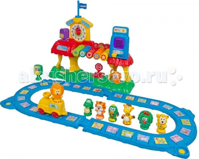Vtech Железная дорога Обучающая 80-069626 (3)Железная дорога Обучающая 80-069626 (3)Интерактивная игрушка  Vtech ОБУЧАЮЩАЯ ЖЕЛЕЗНАЯ ДОРОГА  с 13 дополнительными фигурками, циферблатом, LED-дисплеем обладает максимумом функций и обучающих режимов.  В наборе: 33 буквы алфавита, 12 цифр, цвета и геометрические фигуры.  С помощью веселой железной дороги Ваш малыш научится понимать время по часам, выучит алфавит, запомнит названия животных и звуки, которые они издают.   Дисплей познакомит малыша с написанием букв и цифр, а разноцветные клавиши научат различать цвета и фигуры.   Учиться с помощью этой игрушки легко и весело – сажай животных на поезд, нажимай кнопки и запоминай числа, слова и мелодии, названия зверей, цвета и геометрические фигуры, выполняй задания. Малыш очень быстро разовьет мелкую моторику рук, визуальное и слуховое восприятие, память и логику.   «Железная дорога» в игровой форме преподносит детям конкретный обучающий материал: основы арифметики, пополнение словарного запаса, помощь в познании мира: изучение цветов, форм и предметов.<br>