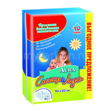 Одноразовые пеленки Aura Простыни гигиенические 90х60 см 10 шт. aura простыни впитывающие гигиенические солнце и луна 90 см х 60 см 10 шт