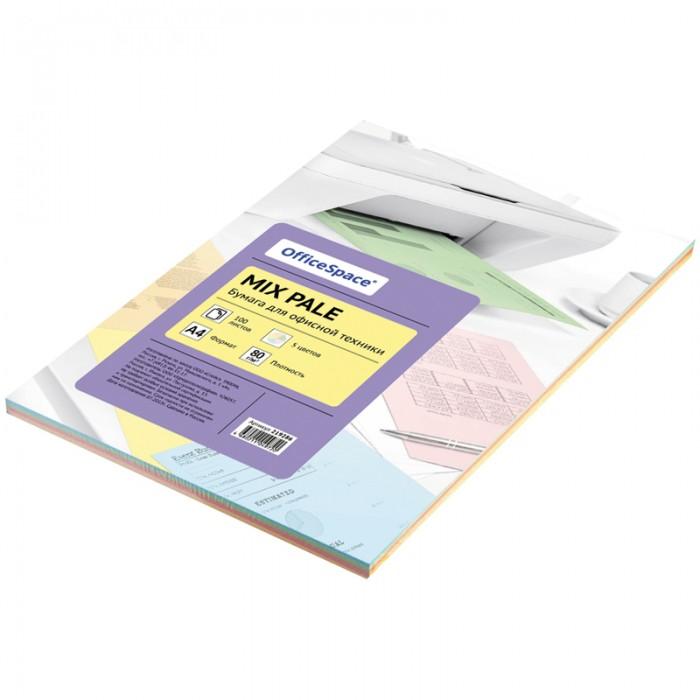 Канцелярия Спейс Бумага цветная OfficeSpace pale mix А4, 80г/м2, 100 листов (5 цветов) бумага цв а4 20л 10цв хобби тайм 2 вида