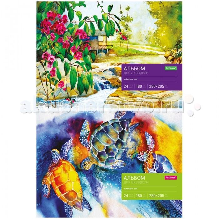 Принадлежности для рисования Спейс Альбом для акварели 24 листа альбом для рисования на спирали а 3 наложенным платежом