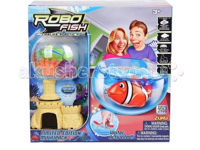 Интерактивная игрушка Robofish РобоРыбка с 2 кораллами, замком и аквариумомРобоРыбка с 2 кораллами, замком и аквариумомНабор РобоРыбка Клоун с аквариумом, замком и двумя кораллами.  Инновационная высокотехнологичная игрушка.  Активируется в воде. Имитирует движения и повадки рыбы. Электромагнитный мотор позволяет рыбке двигаться в 5 направлениях.   При погружении в аквариум или другую емкость с водой, РобоРыбка начинает плавать, опускаясь ко дну и поднимаясь к поверхности воды.  Игрушка работает от двух алкалиновых батареек А76 или RL44, которые входят в комплект (две установлены в игрушку и 2 запасные).<br>