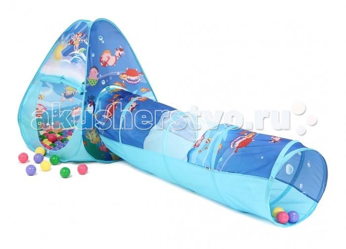 Bony Игровой домик с тоннелем с шариками Треугольник ОкеанИгровой домик с тоннелем с шариками Треугольник ОкеанКрасочные и интересные игровые домики для детей — это лучшее решение родителей, чтобы ребенок мог активно играть с пользой для здоровья!  Домики очень компактные, легкие и их легко брать с собой, например, на дачу или на природу.  В комплекте 100 разноцветных шариков, играя которыми, малыши развивают ловкость и моторику рук.   Палатка имеет окошки из сетки. Специальная дверка закрепляется на липучках. Достаточно высокий порог не позволит выкатываться шарикам.  Размеры: домик - 85&#215;85&#215;100 см, тоннель - 48х180 см.<br>