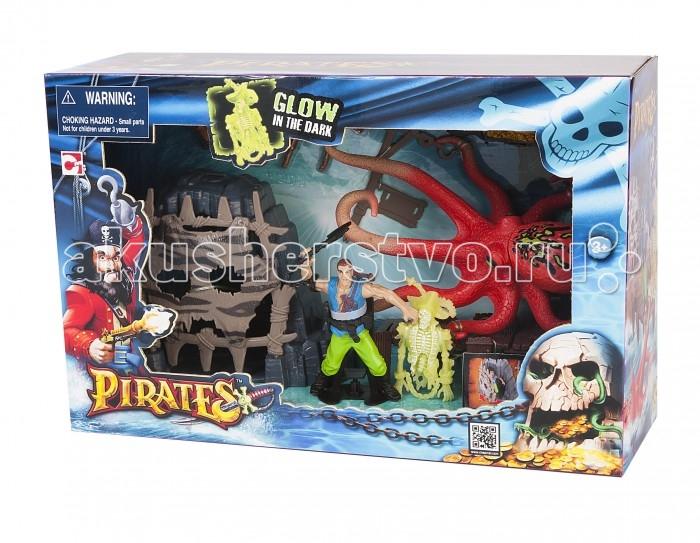 Chap Mei Игровой набор Пираты - Сражение с осьминогомИгровой набор Пираты - Сражение с осьминогомИгровой набор Сражение с осьминогом из серии Пираты понравится всем любителям необычных игр, связанных с мистикой и волшебством. Ребенку предлагается сюжет, где он ощутит себя в роли настоящего пирата, который будет сражаться с огромным осьминогом, живущим в пещере. Добраться до злодея пирату помогут аксессуары, входящие в набор.  Комплектация набора:   Фигурка пирата с топориком; Мостки со скелетом (скелет светится в темноте); Скала с пещерой (вход в пещеру открывается); Осьминог; Фонарь; Кирка; Подзорная труба;  Лопата; Рог; Ящик с золотом.  Особенности:  Размер упаковки: 36.83 х 12.7 х 24.13 см<br>