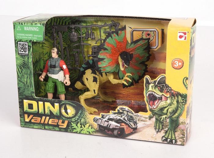 Игровые наборы Chap Mei Игровой набор Дилофозавр и охотник со снаряжением игровые наборы tomy игровой набор приключения трактора джонни и лошади на ферме
