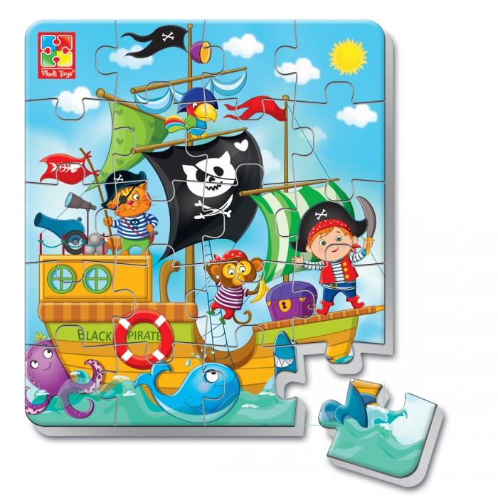 Пазлы Vladi toys Пазлы мягкие магнитные в стакане Пираты (20 элементов) пазлы бомик пазлы книжка репка