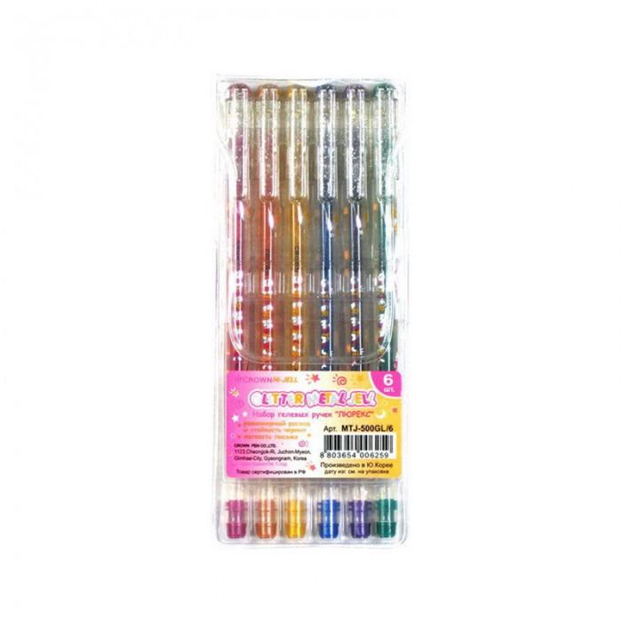 Канцелярия Crown Набор гелевых ручек Люрекс 6 цветов набор гелевых ручек для tatу 6 гел ручек трафарет