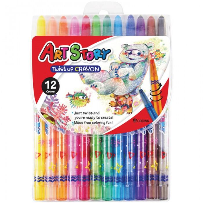 Карандаши, восковые мелки, пастель Crown Карандаши восковые 12 цветов выкручивающийся стержень карандаши восковые мелки пастель спейс карандаши зверята 12 цветов