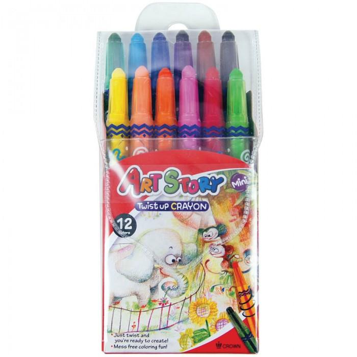 Карандаши, восковые мелки, пастель Crown Карандаши восковые 12 цветов мини выкручивающийся стержень карандаши восковые мелки пастель kuso мелки восковые кирпичики 4 цвета