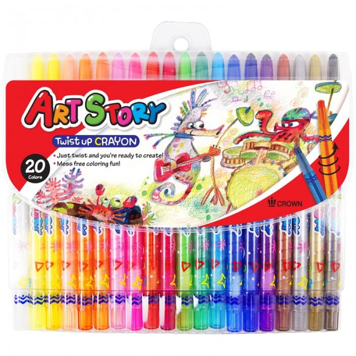Карандаши, восковые мелки, пастель Crown Карандаши восковые 20 цветов выкручивающийся стержень карандаши
