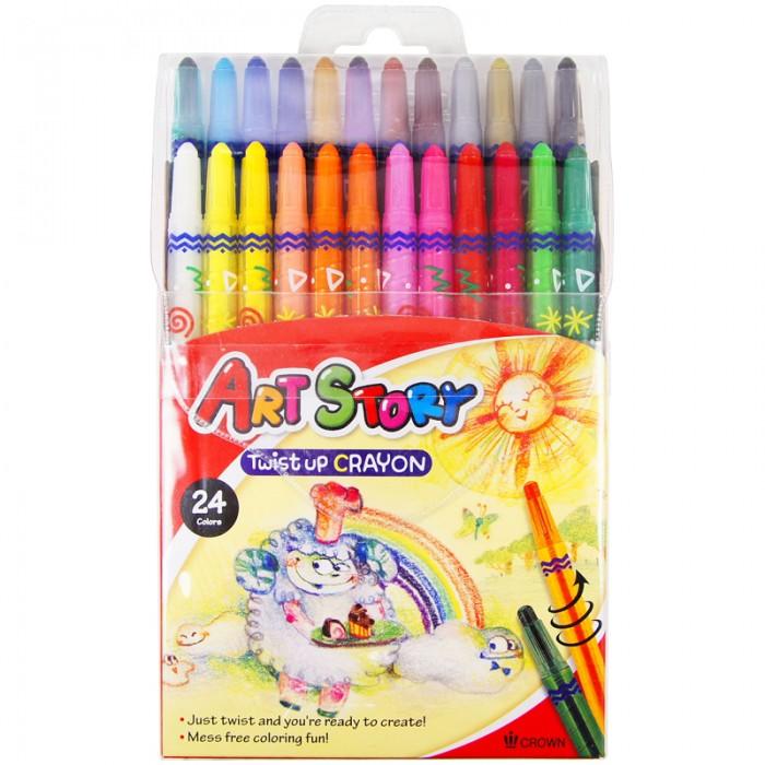 Карандаши, восковые мелки, пастель Crown Карандаши восковые 24 цвета выкручивающийся стержень карандаши джунгли 24 цвета tz 4028