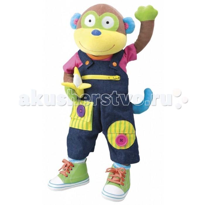 Мягкая игрушка Alex Учимся одеваться с обезьянкойУчимся одеваться с обезьянкойИгрушка обезьянка 56 см, мягконабивная, в ярком костюмчике.   На обезьянке настоящие носочки, кеды со шнуровкой, комбинезончик с пряжками, молниями и пуговицами.   11 различных действий.<br>