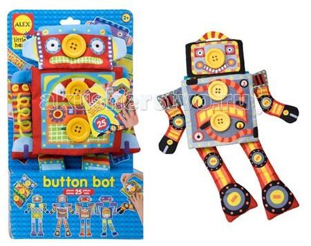Alex Кукла Робот ПуговкаКукла Робот ПуговкаСобери своего уникального робота.  Комбинируй и сочетай бесконечное число образов.  В наборе: тряпичная игрушка-робот (корпус робота с 7 пуговицами, к которым пристегиваются сменные детали).   25 сменных предметов: 4 руки и ноги, 2 кузовные панели, 2 головы и т.д.  Игрушка способствует развитию мелкой моторики и воображения ребенка.  Размер корпуса робота 38см х 20см.  Для детей от 2х лет.<br>