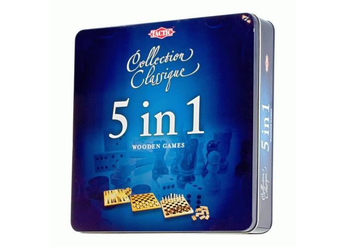Tactic Games Настольная игра Подарочный набор 5 в 1Настольная игра Подарочный набор 5 в 1Подарочный набор 5 в 1 включает в себя такие настольные игры, как шахматы, шашки, нарды, домино и крестики-нолики.   Каждая настольная игра из этого набора подойдет игрокам любого возраста. Кроме того, все игры прекрасно развивают внимание, скорость реакции, логическое мышление, смекалку и сообразительность.   Игровая доска изготовлена из натурального дерева. На одной стороне доски находится игровое поле для шашек и шахмат, на другой стороне - поле для игры в нарды с разметкой для крестиков- ноликов. В наборе есть и кости для домино.   Все элементы набора выполнены аккуратно и красиво. Упакован набор в красивую жестяную коробку. Поэтому такой набор может стать замечательным подарком, особенно тем, кто часто путешествует.<br>