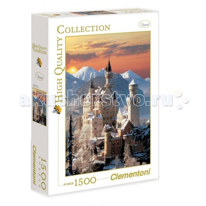 Пазлы Clementoni Пазл High Quality Collection - Бавария, Вид на замок Нойшванштайн зимой (1500 элементов)