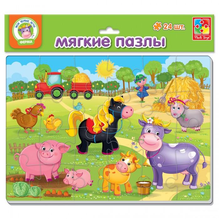 Пазлы Vladi toys Мягкие пазлы Ферма А4 24 элемента пазлы vladi toys пазлы мягкие baby puzzle сказки репка