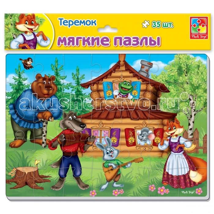Пазлы Vladi toys Мягкие пазлы Сказки. Теремок А4 35 элементов пазлы бомик пазлы книжка теремок