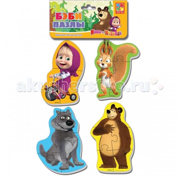 Пазлы Vladi toys Мягкие пазлы Baby puzzle Маша и Медведь. Белка и волк пазлы vladi toys пазлы мягкие baby puzzle сказки репка