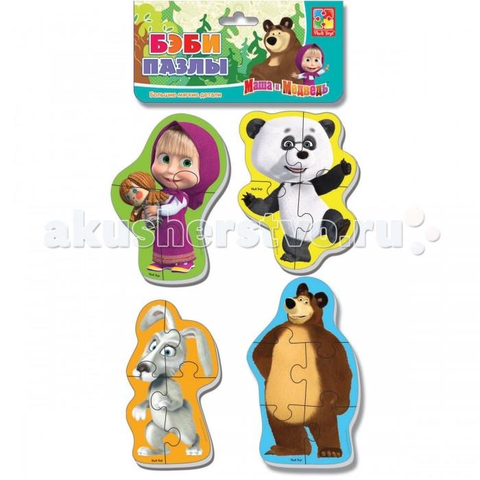 Пазлы Vladi toys Мягкие пазлы Baby puzzle Маша и Медведь. Панда и заяц пазлы vladi toys мягкие пазлы baby puzzle макси маша и медведь