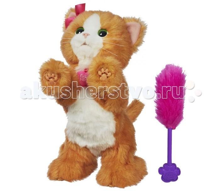 Интерактивная игрушка FurReal Friends Hasbro Игривый котенок ДэйзиHasbro Игривый котенок ДэйзиИгривый котенок Дэйзи Hasbro это прекрасная интерактивная игрушка , которая столько всего умеет!  Котенок Дейзи может прыгать, мяукать моргать и даже вставать на задние лапки!   Когда кошечка видит вас и понимает, что вы рядом она начинает перебирать своими лапками и призывно мяукать предлагая поиграть с ней.   В наборе с котеноком есть пушистая метелочка, с которой Дэйзи обожает играть, проведите ей перед глазками Дэйзи и она будет лапками тянуться к ней.   Нажмите на лапку Дэйзи два раза и кошечка встанет на задние лапки и споет Вам свою кошачью песенку. Во время песенки Дэйзи забавно покачивается из стороны в сторону.<br>
