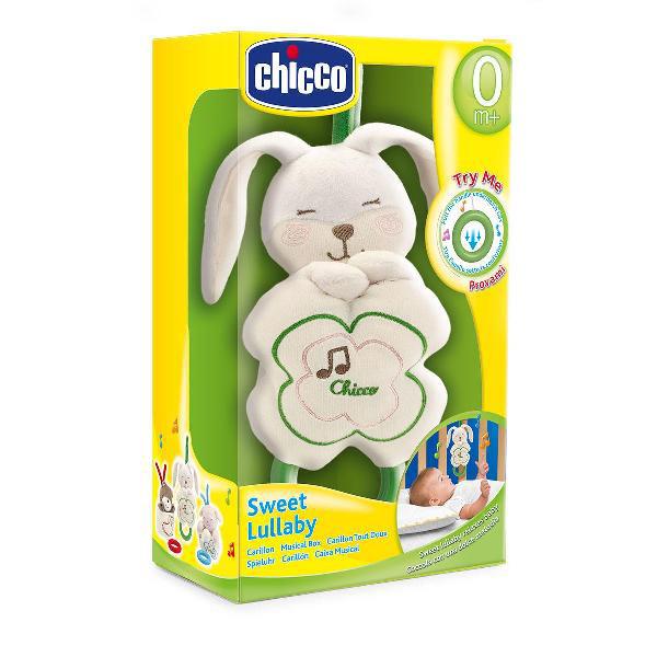 Подвесная игрушка Chicco ЗайчонокЗайчонокПодвесная мягкая музыкальная игрушка Chicco Зайчонок  Супермягкая игрушка, крепится на кроватку. Сделана из мягкого плюша естественного цвета. Моющаяся поверхность.<br>