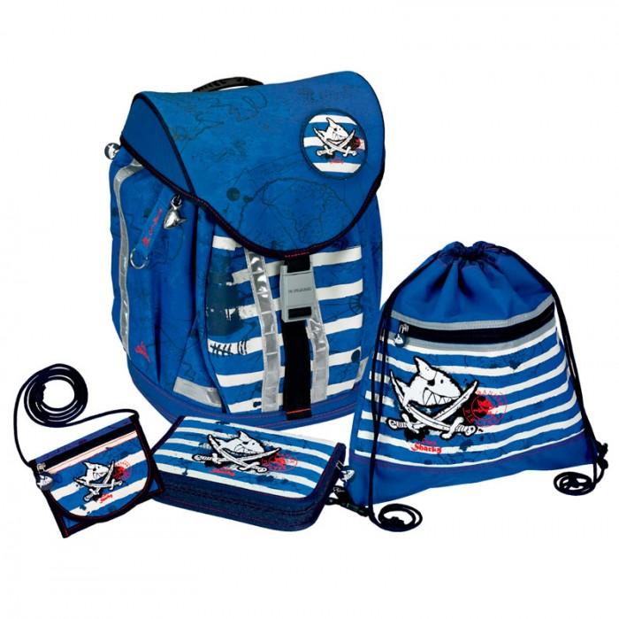Spiegelburg Школьный рюкзак Captn Sharky Flex Style с наполнением 10600Школьный рюкзак Captn Sharky Flex Style с наполнением 10600Школьный рюкзак Captn Sharky Flex Style с наполнением, для начальной школы - это настоящая находка для родителей! Изготовлен из прочного материала с водоотталкивающей пропиткой, пластиковое дно защищает от повреждений и делает его более устойчивым. Особенность его в 3-ступенчатой регулировка (S, M, L) для индивидуальной адаптации по длине.  В комплекте:   Пенал с наполнением Lyra Osiris; Мешок для обуви; Кошелек на шнурке; Дорожная книга для детей; Расписание занятий;  Прозрачный силиконовый чехол для пропуска на карабине.  Особенности:   Размер: 28 х 38 х 20 см Объем: 18 л Вес: 2,060 г<br>