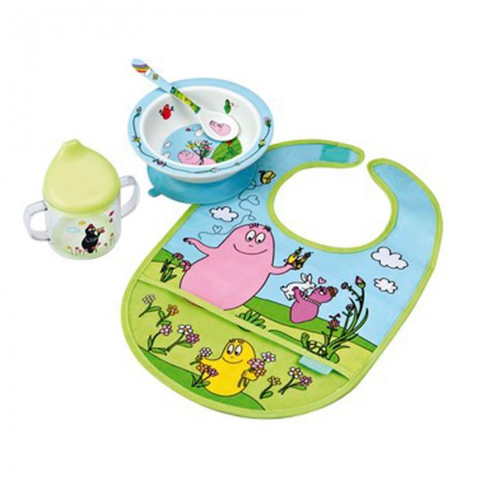 Petit Jour Набор детской посуды Barbapapa с нагрудникомНабор детской посуды Barbapapa с нагрудникомPetit Jour Набор детской посуды Barbapapa с нагрудником в подарочной упаковке. Ваш малыш будет кушать с удовольствием!   Особенности: набор изготовлен из гипоаллергенного материала 0% фталатов и BPA (бифенол А) на дне тарелки есть веселый рисунок, для того, чтобы ее разглядеть, нужно опустошить тарелку тарелка с нескользящим дном и широкими краями, что обеспечивает ее устойчивость и непроливание пищи глубокая ложечка удобная ручка у ложки идеальна для самостоятельного питания поильник-непроливайка с двумя ручками тарелку и приборы можно мыть в посудомоечной машине  не подходит для использования в микроволновой печи и для горячих напитков  В комплекте: тарелка, глубокая тарелка, ложка, поильник, нагрудник Размер: ложка 14 см, поильник 11X10 см, тарелка 16 см<br>
