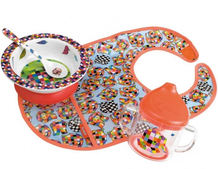 Petit Jour Набор детской посуды Elmer с нагрудникомНабор детской посуды Elmer с нагрудникомPetit Jour Набор детской посуды Elmer с нагрудником в подарочной упаковке. Ваш малыш будет кушать с удовольствием!   Особенности: набор изготовлен из гипоаллергенного материала 0% фталатов и BPA (бифенол А) на дне тарелки есть веселый рисунок, для того, чтобы ее разглядеть, нужно опустошить тарелку тарелка с нескользящим дном и широкими краями, что обеспечивает ее устойчивость и непроливание пищи глубокая ложечка удобная ручка у ложки идеальна для самостоятельного питания поильник-непроливайка с двумя ручками тарелку и приборы можно мыть в посудомоечной машине  не подходит для использования в микроволновой печи и для горячих напитков  В комплекте: тарелка, глубокая тарелка, ложка, поильник, нагрудник Размер: ложка 14 см, поильник 11X10 см, тарелка 16 см<br>