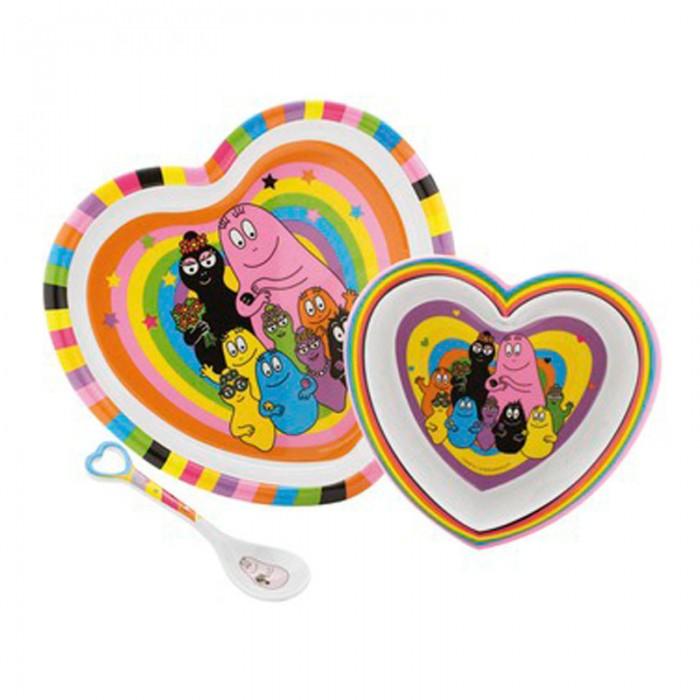 Petit Jour Набор детской посуды Barbapapa BA963CНабор детской посуды Barbapapa BA963CPetit Jour Набор детской посуды Barbapapa BA963C  в форме сердца.   В наборе тарелка, глубокая тарелка и ложка.   Подходит для мытья в посудомоечной машине и не подходит для микроволновой печи и горячих напитков.<br>