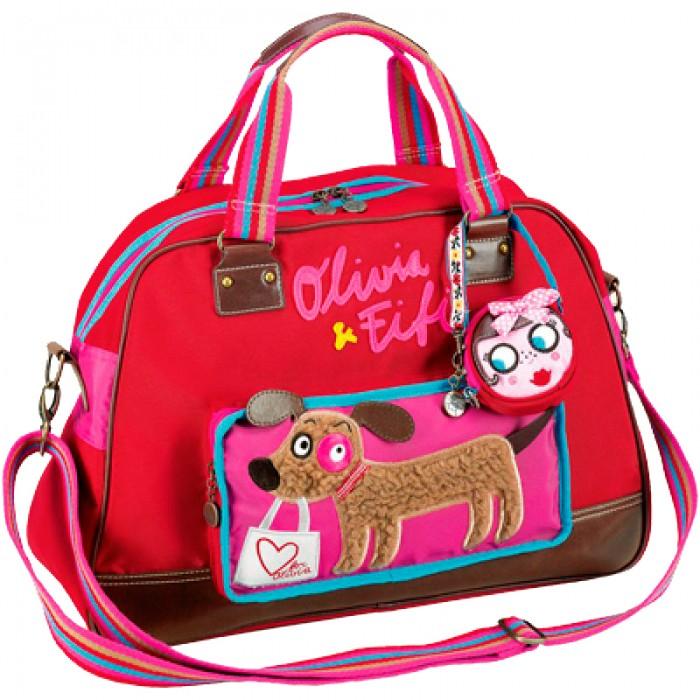 Spiegelburg Сумка Olivia &amp; Fifi 93938Сумка Olivia &amp; Fifi 93938Оригинальная сумка Olivia & Fifi ярко-красного цвета, украшенная разными красивыми элементами: набивной вышивкой, аппликацией, полосатыми ручками и ремешком. Внутреннее отделение имеет два отсека, внешний карман на молнии с изображением Фифи для мелочей. В комплект входит съемный маленький кошелек.  Особенности:   Размер: 48 х 34 х 17 см<br>