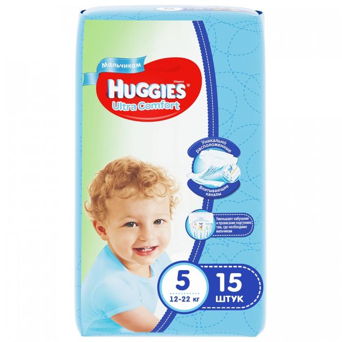 Подгузники Huggies Подгузники Ultra Comfort Conv Pack для мальчиков 5 (12-22 кг) 15 шт. huggies подгузники для девочек ultra comfort 12 22 кг 105 шт