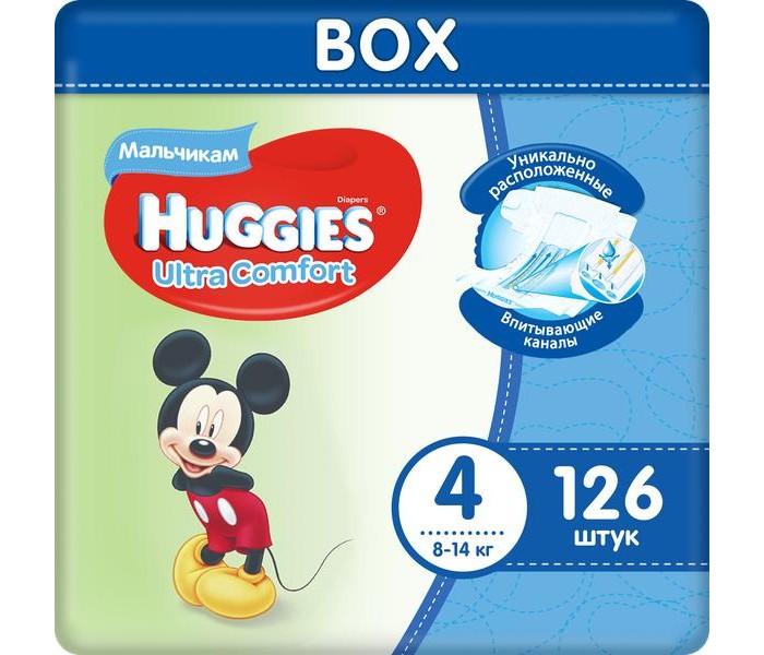 Huggies Подгузники Ultra Comfort Disney Box для мальчиков 4 (8-14 кг) 126 шт.Подгузники<br>Вес ребенка: 8-14 кг Кол-во в упаковке: 126 шт.  Подгузник №1 по Комфорту Подгузники Huggies® Ultra Comfort созданы специально для мальчиков и для девочек – чтобы им было удобно и комфортно в любой ситуации.  Преимущества: Уникально расположенные впитывающие каналы. Быстро распределяют жидкость для уменьшения набухания и провисания подгузника там, где необходимо мальчикам – ближе к животику. Уникальный впитывающий слой. Быстро впитывает и расположен там, где необходимо мальчикам. Яркие герои Disney. Два замечательных дизайна Disney© в каждой упаковке, где от размера к размеру Baby-Miсkey растет вместе с малышом. Анатомическая форма подгузника между ножками. Для лучшего ощущения комфорта. Эластичный поясок и эластичные застёжки для комфортного прилегания.