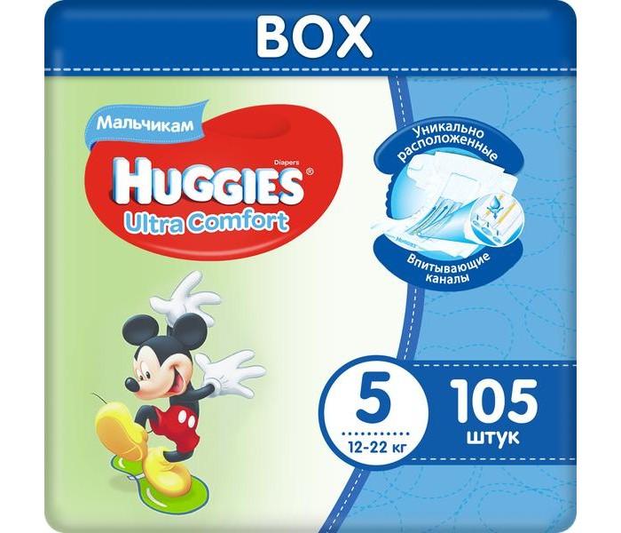 Подгузники Huggies Подгузники Ultra Comfort DISNEY Box для мальчиков 5 (12-22 кг) 105 шт. huggies подгузники для девочек ultra comfort 12 22 кг 105 шт