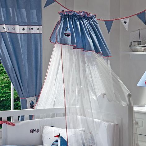 Балдахин для кроватки Funnababy MarineMarineНежный балдахин для детской кроватки Funnababy Marine, сделанный из тюля, будет радовать Вас своим аристократическим внешним видом, а Вашего малыша – надежной защитой от яркого света, мух и комаров.  Длина- 5 метров.<br>