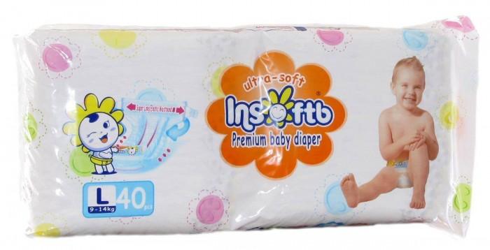 Подгузники Insoftb Подгузники Premium Ultra-soft L (9-14 кг) 40 шт. подгузники genki подгузники трусики nepia premium soft l 9 14 кг 30 шт
