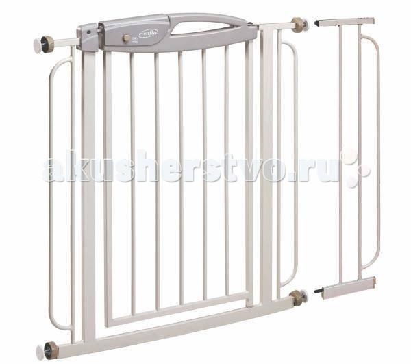 Evenflo Ворота безопасности SummitВорота безопасности SummitДетские ворота безопасности Evenflo Summit, разработаны с учетом безопасности и удобства. Легко устанавливаются и не повреждают дверные короба и стены. Помогают обеспечить безопасность ребенка и держать его все время в поле зрения.   Металлические ворота безопасности легко устанавливаются под давлением, не повреждая дверные короба, и легко переносятся. Защита от детей, открытие одной рукой – просто сожмите ручку и толкните, чтобы открыть.  Красный/зеленый индикатор показывает, надежно ли закрыты ворота. Дверца ворот открывается в обоих направлениях, обеспечивая легкий проход. Удлинитель в комплекте для проемов шириной до 100 см. Простота конструкции обеспечивает простое снятие ворот в случае их неиспользования. Установка не требует инструментов. Высота 81см, ширина регулируется от 74 до 100 см.   Особенности: Для детей 6 – 24 месяцев. Запрещается использовать, если ребенок может перелезть через ворота безопасности, сдвинуть или открыть их. Использование Используйте только в проемах шириной от 74 до 100 см. Используйте в дверных проемах, проходах и внизу ступенек. Идеально для зон с интенсивным движением. Запрещается использовать наверху ступенек. Чистка и уход Протирайте ворота мягким мылом и теплой водой, перед использованием полностью высушите. Металлические и пластиковые элементы можно протирать мягкой влажной тканью и вытирать мягкой тканью. ЗАПРЕЩАЕТСЯ использовать абразивные моющие средства и растворители.<br>