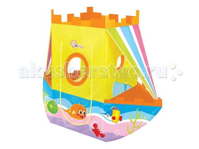 Yongjia Игровая палатка КорабльИгровая палатка КорабльЯркая палатка-домик в виде корабля порадует детей не только летом, но и зимой. В летний период в палатке можно играть на улице, представляя себя отважным капитаном корабля. В зимний период Корабль помещается в комнате, имея компактные размеры, и, таким образом, продолжая победоносное шествие, не зависящее от погоды. Ребятишкам очень нравится играть в палатках, поскольку это дает ощущение уюта и тайны. Ведь так здорово иметь свой укромный уголок, куда взрослые не смогут попасть.    Размеры: 170 х 70 х 135 см.<br>