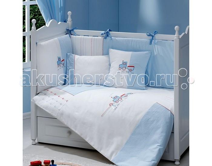 Комплект в кроватку Fiorellino Train 120х60 (5 предметов)Train 120х60 (5 предметов)Комплект для кроватки Fiorellino Train - высококачественное белье, которое изготавливается из 100% хлопка с наполнителем: силикон.   Белье имеет красивый дизайн, оно украсит кроватку и подарит малышу уютный и здоровый сон.   В комплекте: - Наволочка 40х60 см; - Пододеяльник 100х130 см;  - Простыня на резинке 120х60 см;  - Одеяло 100х130 см;  - Бампер (по периметру кроватки).   Особенности:   комплект постельного белья в детскую кроватку из натурального хлопка  постельное белье подойдёт для детской кроватки размером 120х60 см  в дизайне используется авторская вышивка и декоративное шитьё  спокойные и приятные цвета ткани с забавными рисунками не будут раздражать и утомлять глазки вашего ребёнка  нежные и мягкие материалы не будут раздражать нежную кожу ребёнка и не доставят ему неудобства  постельный комплект изготовлен из натуральных и гипоаллергенных тканей, которые создают комфортные условия для спокойного сна Вашего ребёнка  для наполнения защитного бампера, одеяла и подушки используется только экологически чистый наполнитель  данный комплект имеет 4-х сторонний защитный бампер, который защищает Вашего малыша по всему периметру кроватки  простынь с резинкой, которая помогает надежно закрепить ее на матрасе  белье легко стирается в режиме деликатной стирки при температуре 30&#186;С  комплект постельного белья сертифицирован и абсолютно безопасен для новорождённого малыша<br>