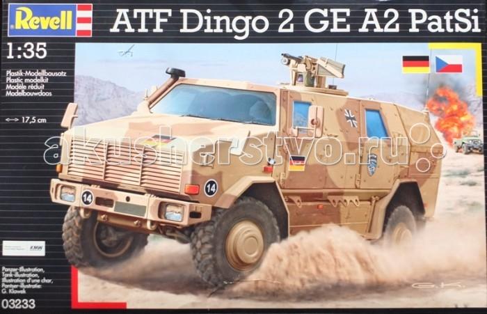 Конструктор Revell Бронеавтомобиль Dingo 2A2Бронеавтомобиль Dingo 2A2Модель современного немецкого бронеавтомобиля Dingo 2A2. Разработанный инженерами компании Krauss-Maffei Wegmann Dingo 2 был принят на вооружение Бундесвера в 2003 году. По оценке экспертов на данный момент броневик занимает лидирующие позиции по показателям защиты среди машин своего класса. Dingo 2A стоит на вооружении в армиях шести стран. Всего было выпущено около 800 экземпляров. Модификация Dingo 2A2 является патрульной версией броневика.  Внимание!  Клей и краски в комплект не входят.  Особенности:   Длина модели: 174 мм Масштаб: 1:35  Количество деталей: 150 шт.<br>