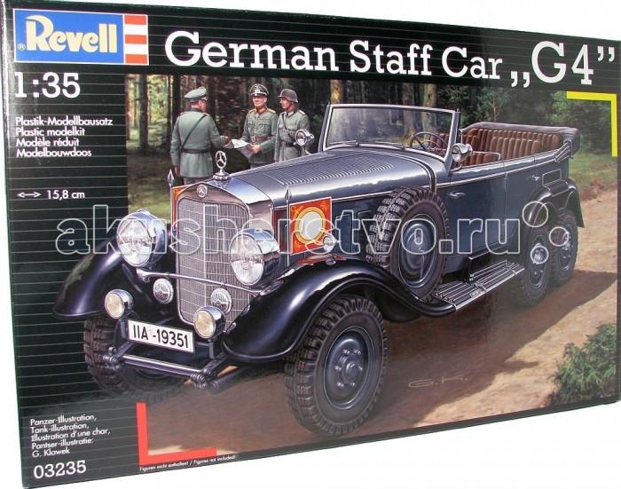 Конструктор Revell Германский обслуживающий автомобиль G4 (1939)Германский обслуживающий автомобиль G4 (1939)Модель немецкого автомобиля Mercedes-Benz G4. Шестиколесный внедорожник выпускался с 1934 по 1939 годы преимущественно для немецкой армии. Использовался в основном для перевозки высокопоставленных офицеров. Mercedes-Benz G4 пользовался и Адольф Гитлер. Фюрер всегда ездил на соседнем месте с водителем. При этом под ногами у него находился ящик, на который он становился, чтобы приветствовать толпу. Всего было выпущено 57 автомобилей. До наших дней сохранилось лишь три.  Внимание!  Клей и краски в комплект не входят.  Особенности:   Размер упаковки: 24 х 37 х 6 см Размер собранной модели: 15.8 x 5.2 x 7.9 см Масштаб: 1:35. Количество деталей: 309 шт.<br>