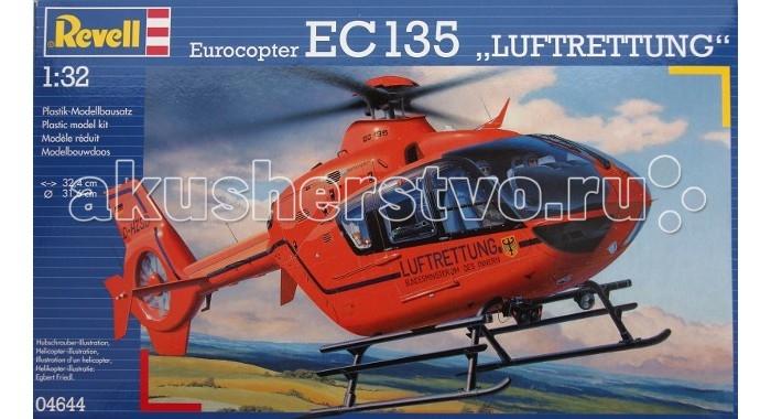 Конструктор Revell Вертолет EC 135 T2i LuftrettungВертолет EC 135 T2i LuftrettungМодель вертолета EC 135 T2i Luftrettung от фирмы Revell является уменьшенной копией одноименного немецкого вертолета. Впервые произведен в 2002 году в Германии. Модель станет отличным украшением комнаты и дополнением Вашей коллекции.  Внимание! Клей и краски в комплект не входят.  Особенности:   Длина модели: 324 мм  Диаметр винта: 316 мм Масштаб: 1:32  Количество деталей: 203 шт.<br>