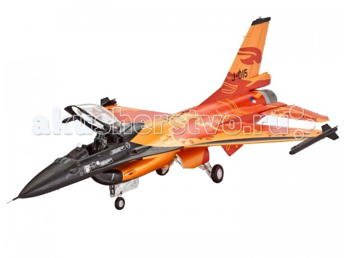 Конструктор Revell Набор Истребитель F-16 Mlu (98 деталей)Набор Истребитель F-16 Mlu (98 деталей)Голландский истребитель F-16 Mlu является одним из самых успешных боевых самолётов на сегодняшний день. В 2009 году военно-воздушные силы Нидерландов представили этот шикарный истребитель в очень привлекательном дизайне для сольных показов на авиа-шоу. Дизайн истребителя был разработан в соответствии с традиционным цветом Нидерландов – оранжевым, а на корпусе F-16 Mlu красовался красные лев.   Превосходная сборная модель несравненного истребителя выполнена настолько аккуратно, со вниманием к каждой детали, что отличить небольшой макет в масштабе 1: 72 от оригинала просто невозможно. Крохотная фигурка пилота внутри тщательно детализированной кабины, исполненные в мельчайших подробностях кресла пилотов, опоры шасси, управляемы ракеты на борту, фактурная поверхность фюзеляжа – ничто не оставляет сомнений в сходстве с прототипом. Всего модель состоит из 98 отдельных деталей, которые необходимо собрать и склеить воедино при помощи специального клея в удобной упаковке, который прилагается в комплекте. Также в наборе есть краски с кисточкой и набор наклеек для создания уникального дизайна голландского истребителя. Длина готовой модели составляет 207 мм, а размах крыльев – 143 мм.   Разработанная для детей от 10 лет, сборная модель определённо обрадует любителей моделирования. Ведь моделирование относят к одному из наиболее полезных хобби, ведь оно отлично тренирует мелкую моторику, развивает такие навыки как усидчивость, аккуратность и внимательность. Кроме того, развивается пространственное мышление, логика и креативность.  Особенности:   Размеры собранной модели: 20.7 x 14.3 x 7.6 см Масштаб: 1:72. Количество деталей: 98 шт.<br>
