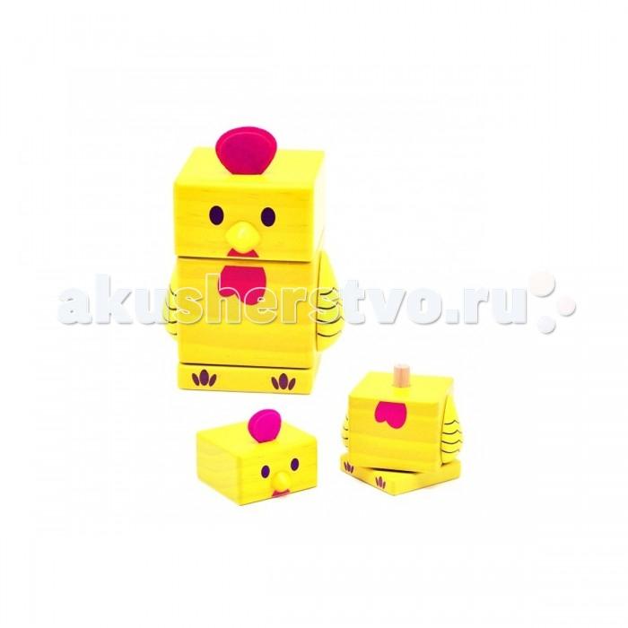 Деревянные игрушки Бомик Пирамидка Цыпленок пазлы бомик вкладыш бабочки