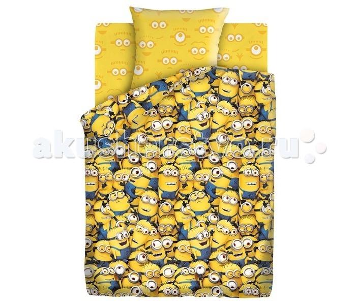 Постельное белье 1.5-спальное Непоседа Миньоны 288762 1.5-спальное (3 предмета) постельное белье 1 5 спальное непоседа смайлы 1 5 спальное 3 предмета