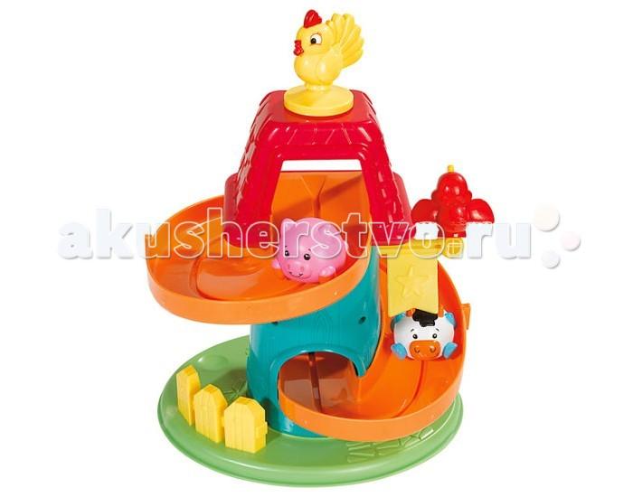 Развивающая игрушка Simba Вращающаяся фермаВращающаяся фермаSimba Вращающаяся ферма будет интересен не только годовалым крохам, но и деткам помладше. Игровой набор выполнен из гигиенической, безопасной для малышей пластмассы высокого качества, окрашенной нетоксичными красками.   В комплект входит трек и 4 фигурки животных и птиц: коровка и поросеночек - они предназначаются для спуска, петушок, взирающий сверху на веселые гонки, а также попугай, который посередине трека держит музыкальный флажок.  Проносясь по треку Simba Baby по очереди, поросенок и коровка задевают флажок, что вызывает звон, радующий малыша. А заканчивается гонка зверюшек тем, что, набрав по пути скорость, они толчком открывают дверку, установленную на финише.   Игра развивает моторику ручек крохи, концентрацию внимания, память, слуховое и зрительное восприятия, логическое мышление, а также у него вырабатывается цепочка причина-следствие. Кроме того, ребенок закрепляет или узнает названия животных и цветов.<br>