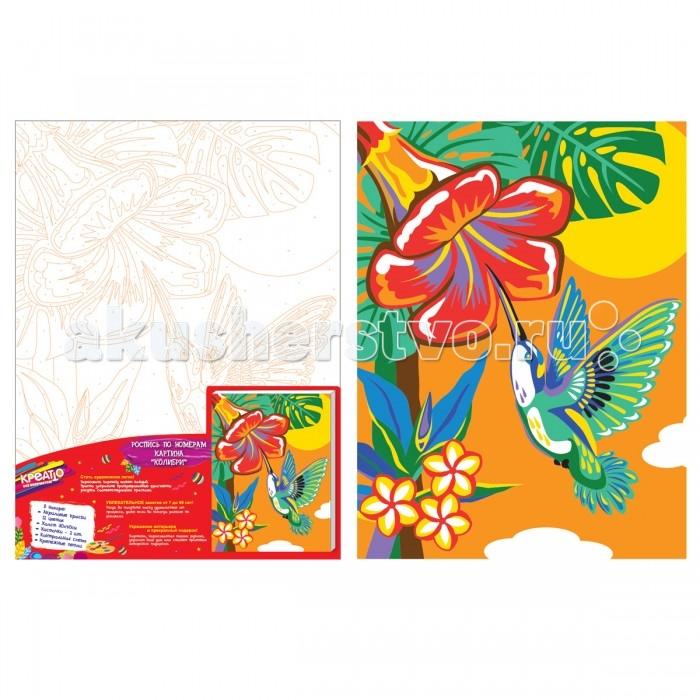 Картины по номерам Креатто Набор для росписи холста по номера - Колибри умка аппликация по номерам колибри winx