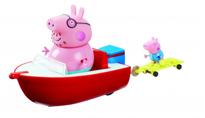 Peppa Pig Игровой набор Моторная лодкаИгровой набор Моторная лодкаPeppa Pig Игровой набор Моторная лодка. Папа Свин и Джордж отправляются на морскую прогулку. Для этого у них есть одноместная моторная лодка и двухместная водная доска с держателями для ножек в виде удобных тапочек.   Чтобы игра была еще интереснее, вы можете приобрести дополнительные игрушки из серии Свинка Пеппа. Такая веселая сюжетно-ролевая игра развивает у детей воображение, координацию движений, навыки общения, помогают обмениваться опытом и знаниями.  В наборе 4 предмета: моторная лодка размером 17 x 9 x 6 см на колесиках с сидением для Папы Свина, водная доска размером 8 х 3,7 х 1,5 см на колесиках с креплениями для ножек Пеппы и Джорджа, прикрепленная к лодке с помощью выдвигающегося держателя, 2 фигурки в купальных костюмах с подвижными ручками и ножками: Папа (10 см) и Джордж (4,5 см) с нарукавниками для плавания (не снимаются).   Игрушки выполнены из качественного пластика и пластизоля. Товар сертифицирован.<br>