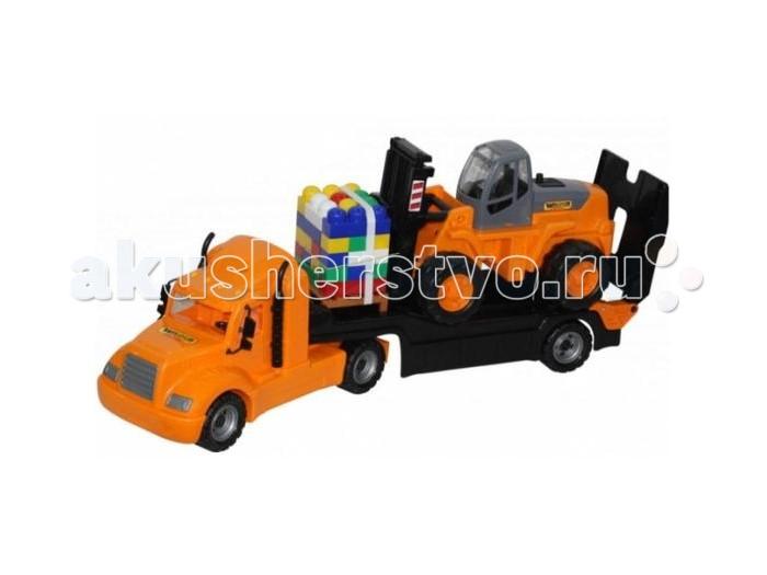 Машины Полесье Набор Майк автомобиль-трейлер автокар конструктор 30 элементов автомобиль кран полесье майк с манипулятором конструктор супер микс 30 элем на поддоне в коробке 55590